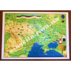 Демонстраційна карта України з рамкою (рельєфна)