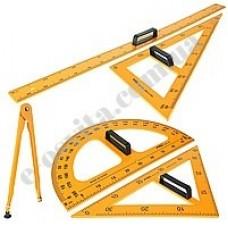 Демонстраційний комплект вимірювальних приладів (лінійка 1м, 2 трикутники, циркуль)
