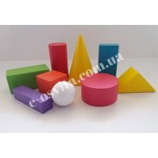 Набір кольорвих лабораторних моделей геометричних тіл та фігур (дерево) роздаткові