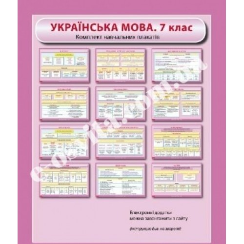 Комплект навчальних плакатів. 7 клас. Українська мова.