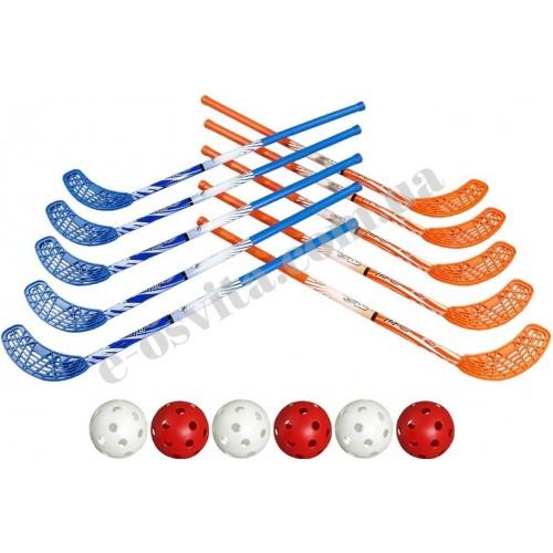 Набір ключок для флорболу  87 см 10 штук + 5 м'ячів